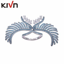KIVN Womens Fashion Jewelry Angel Wing Feather Pave CZ Cubic Zirconia Wedding Engagement Rings Mothers Birthday Christmas Gifts