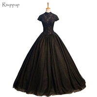Long Evening Dress 2018 Gorgeous Sheer High Neck Top Beaded Lace Backless African Women Formal Arabic Style Black Evening Gowns
