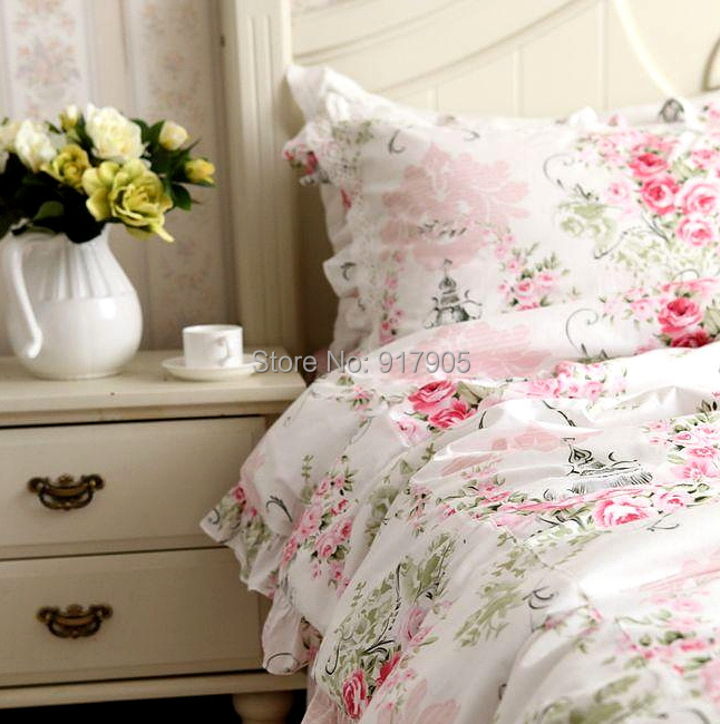 Romantic Pink Rose Comforter Set Elegant Western Country Style Vintage  Floral Bed In A Bag Korean Ruffled Fairy Bedding Sets In Bedding Sets From  Home ...