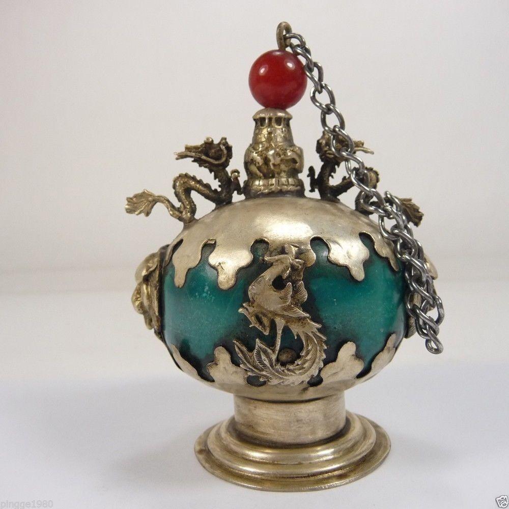 Оформлен Старый ручная Джейд бутылки табак бронированный Лев Дракон Феникс украшения сада 100% Настоящее Тибетский серебро латунь