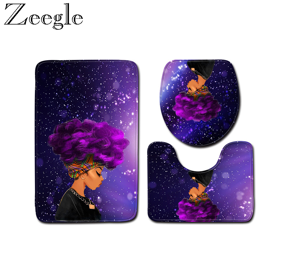 Zeegle African Woman Printed 3pcs Anti-slip Bath Mat Set Bathroom Carpets Set Microfiber Toilet Rugs Bathroom Floor Mats