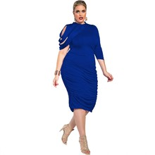 FD7013 Lady Plus Size Bodycon Dress Vestidos Robe Solid Color Sexy Tassel One shoulder Sleeve Pleated Dresses Large code clothes