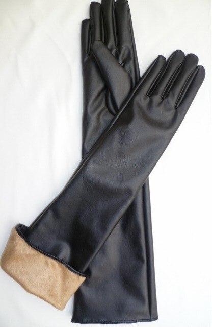 Women's Autumn Winter Thermal Velvet Fleece Lining Altra Long Thicken Warm Gloves Black Color R1925
