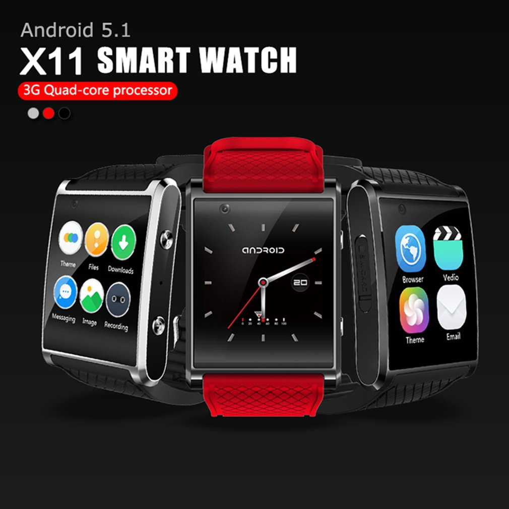 X11 Smart Watch High Chip 4GB ROM 2.0M Camera Support 3G HD WIFI GPS Bluetooth Remind Card Movement Watch x11 smart watch android5 1 smartwatch mtk6580 with pedometer camera 5 0m 3g wifi gps wifi positioning sos card movement watch