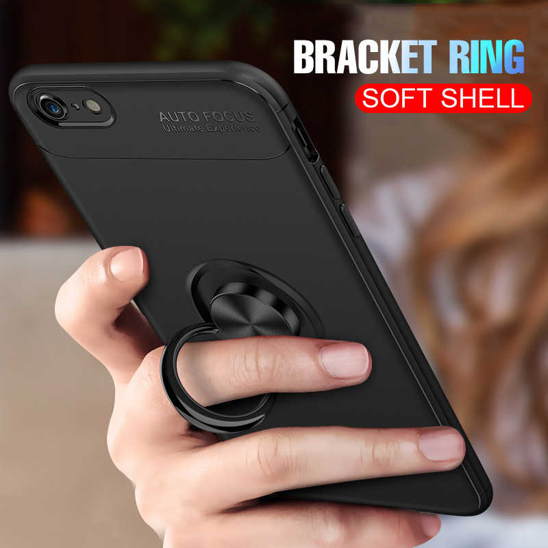 Luxury Soft Shockproof Case For iphone 6 6s 7 8 PLus X Full Cover For iphone 10 7 8 PLus Car Holder Magnetic Bracket Ring Cases