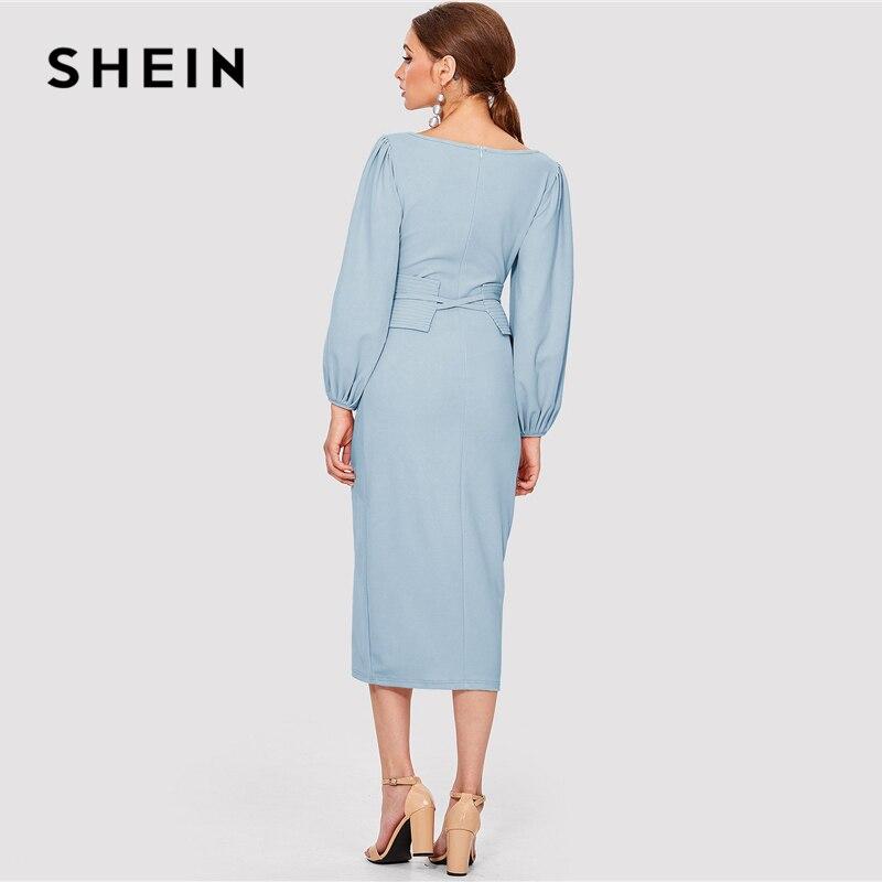 SHEIN Elegant Workwear Blue Dress Women's Shein Collection