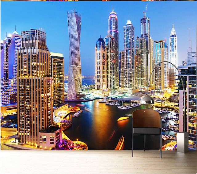 Custom 3d Mural Dubai Night Living Room Wallpaper 3D City Landscape Color Personalized Large