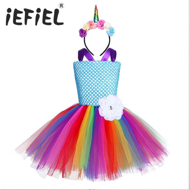 iEFiEL Children Girls Christmas Dress Princess Kids Dresses For Girls Party Wedding Dresses Cosplay Prom Tulle Tutu Floral Dress