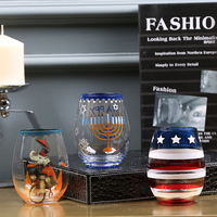 Creative Painted wine Cup Hand painted glass cup stemless wine glass tea Fruit cup beer glass Home Bar Party gift Drinkware