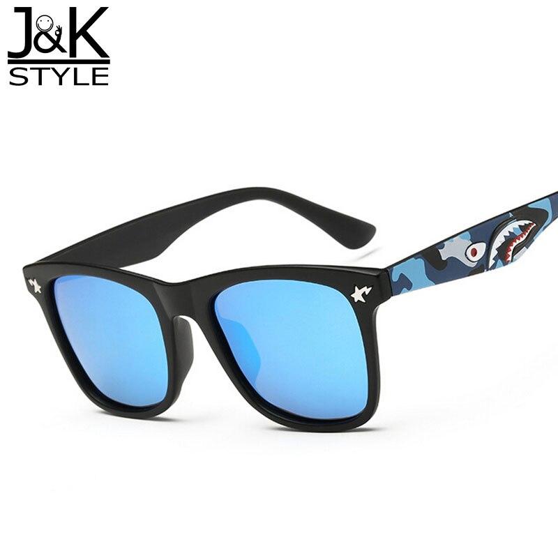 Fashion Cool Shark Design Polarized Sunglasses HD UV400 Silver Mirror Lens Star Transparent Frame Eyewear with Box J&K 8055 uv400 polarized mirror orange lens wood frame sunglasses