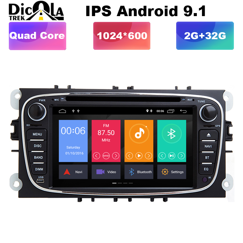 Quad core Android 9.1 car dvd for Ford focus Mondeo S-max smax Kuga c-max gps intelligent radio video wifi BT multimedia player