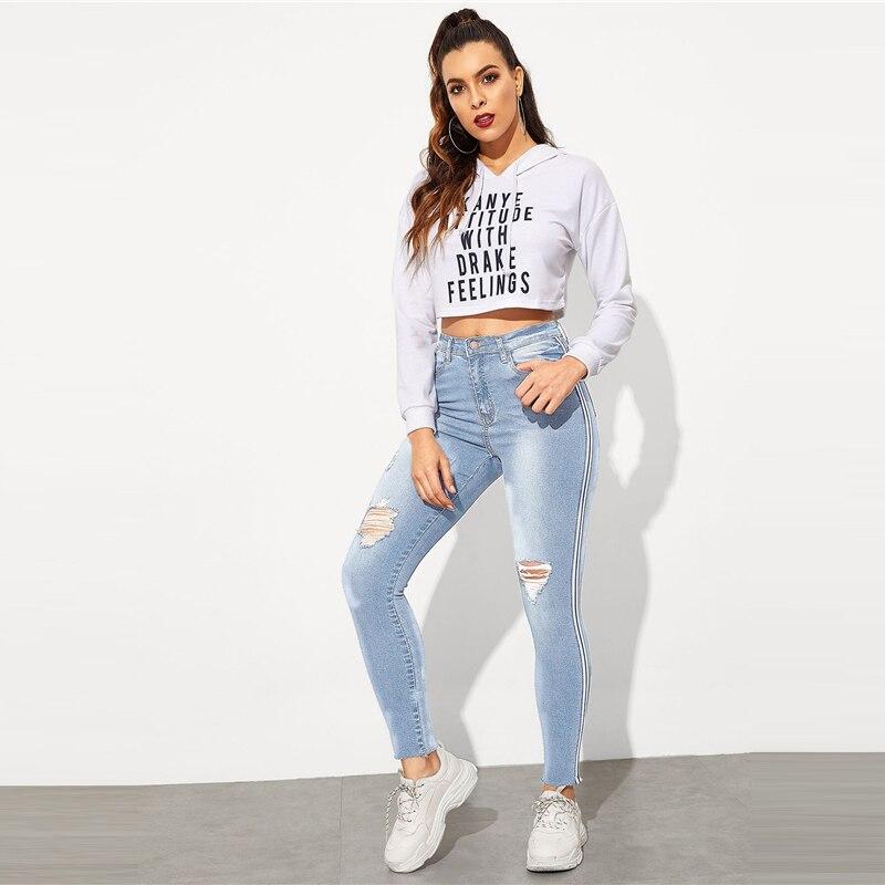 SweatyRocks Stripe Side Ripped Skinny Jeans Leisure Stretchy Long Denim Pants 19 Spring Women Streetwear Casual Blue Jeans 28