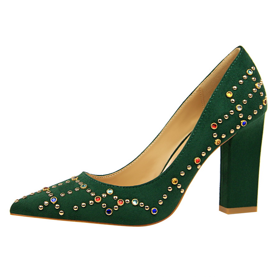 HENGSCARYING 2017 Fashion Elegant Women 9cm High Heels Pumps Female Sexy Pointed Toe Crystal Block High Heels Lady Green Shoes 4