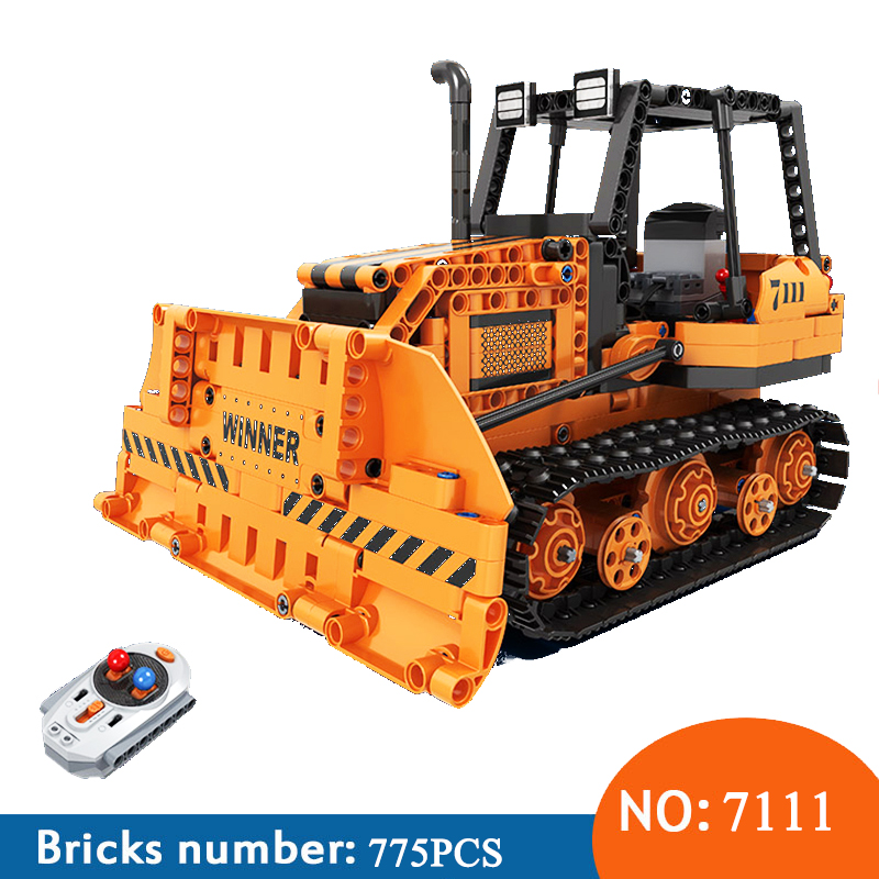 Winner 7111 775pcs Technic City Remote Control RC Engineering Bulldozer Electric Building Blocks Toys For Childrn
