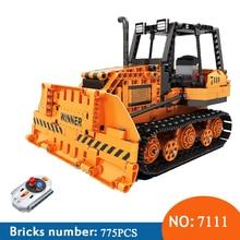 Winner 7111 775pcs Technic City Remote Control font b RC b font Engineering Bulldozer Electric Building