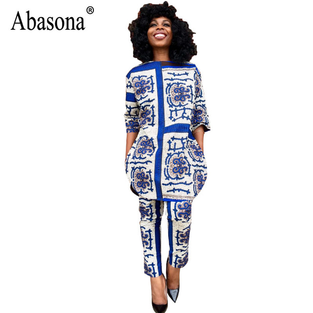 16c0c2ac64bc Abasona Women Jumpsuits Rompers Half Sleeve Vintage Print Two Piece Outfits  Autumn African Jumpsuit Casual Loose Women Clothing