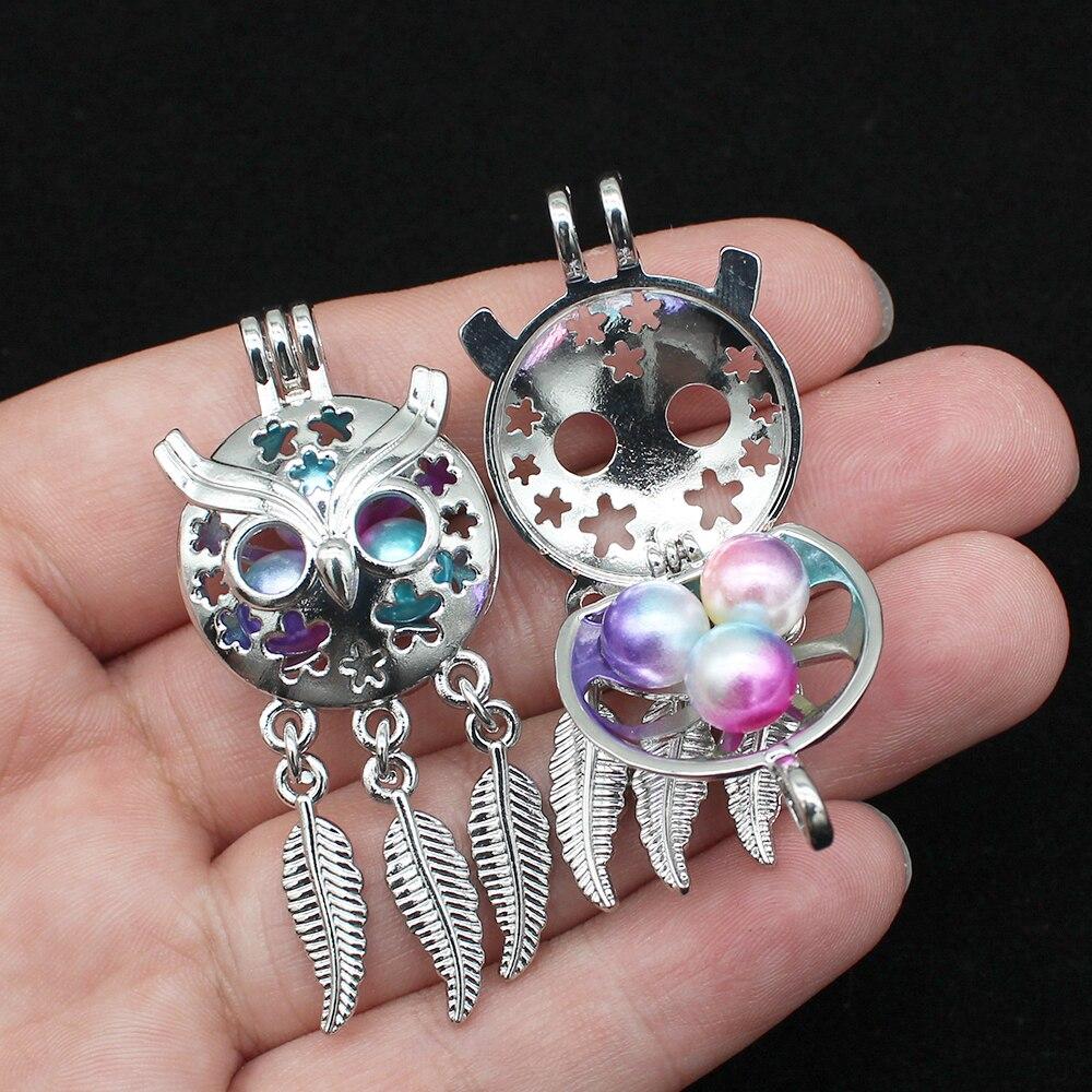 5 stücke Silber Überzogene Blume Blatt Eule Traum Catcher Perle Käfig Anhänger für DIY Ätherisches Öl Diffusor Halskette Machen Charms