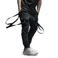 2018 New Cool Men's Pants Full Length Men Hip Hop Joggers Pants Plus Size Trousers men belt pocket women streetwear