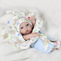 28cm Lovely Silicone Realistic Reborn Baby Boy Doll Model with Quilt Hat Kids Gift