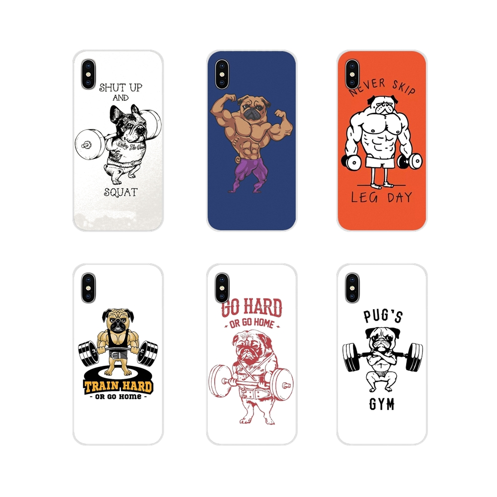 Pug <font><b>Dog</b></font> Bodybuilder Shut Up And Squat For <font><b>Samsung</b></font> Galaxy A5 A6S A7 A8 A9S Star J4 J6 <font><b>J7</b></font> J8 Prime Plus 2018 Cell Phone Skin Cover image