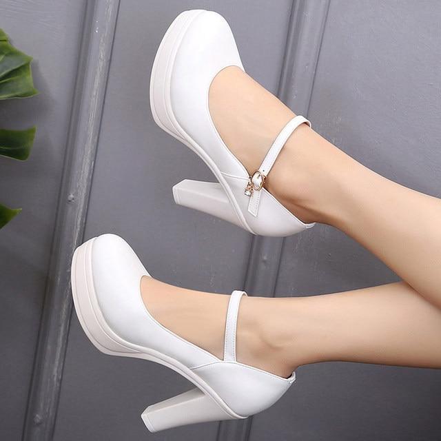 44f1314a2ecfd Big Size 33-43 Block Heel Silver Red White Wedding Shoes Women Pumps Platform  2019