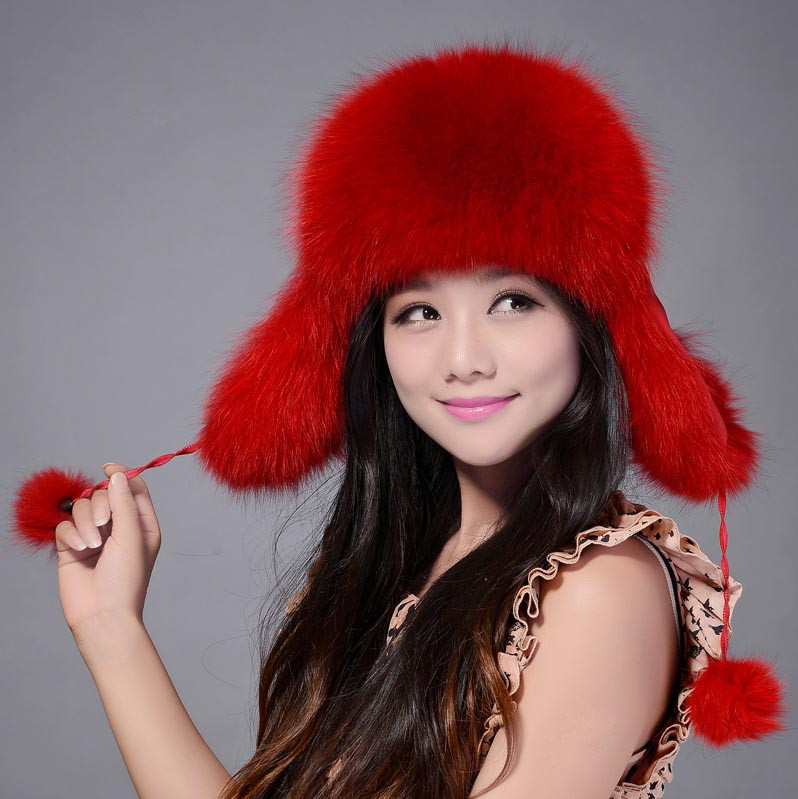 Luxurious high quality genuine fox fur hat womens warm ear protect cap lei feng hat raccoon fur winter casual fur cap warm Hats