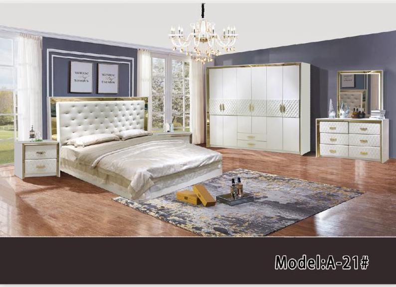 foshan meuble de chambre a coucher nouveau modele lit de luxe avec penderie ensemble de 5 pieces