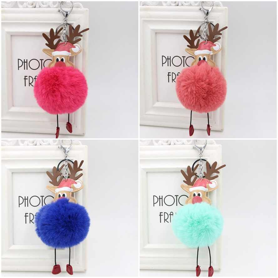 Reindeer pompom Keychain Colorful Fake Rabbit fur ball Fluffy Key Chain Holder porte clef Bag Car Keyring Christmas ornament