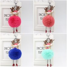 Reindeer pompom Keychain Colorful Fake Rabbit fur ball Fluffy Key Chain Holder porte clef Bag Car Keyring Christmas ornament(China)