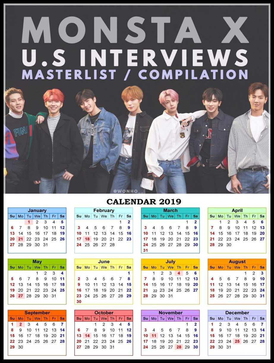 Monsta X Posters K-POP Wall Stickers White Coated Paper Prints High Definition Home Decoration 2019 Calendar Poster Korean band one does not simply