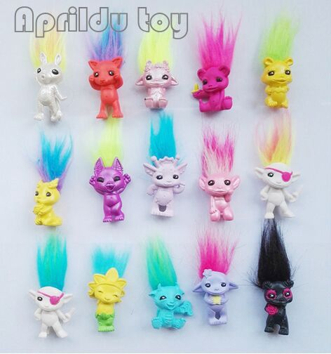 50pcs/lot Mini Size Trolls Pencil Topper The Good Luck Trolls Doll Movie Roles Action Figures Model PVC Toys Gifts For Kids 12pcs set children kids toys gift mini figures toys little pet animal cat dog lps action figures