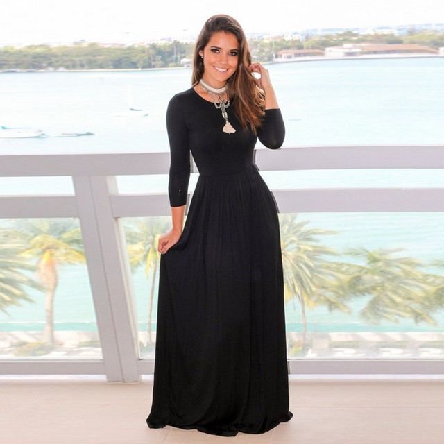 c980e1e514fc3 Women s Casual Black Long Maxi Dress Long Sleeve Party Evening Ladies Solid  Beach Sundress -in Dresses from Women s Clothing on Aliexpress.com