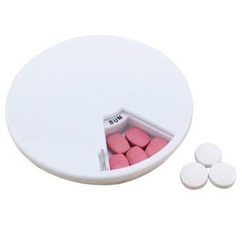 Nowe 7 komórek okrągłe obrotowe rozgałęźniki pojemnik przenośny futerał na pigułki opieka zdrowotna schowek medyczny kieszonkowy organizator leków tanie i dobre opinie Przypadki i rozgałęźniki pigułka Plastic Portable Pill Case 7 Cells