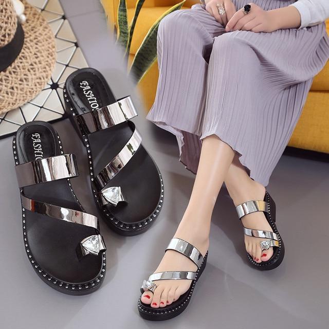 075c2e81b Gladiator Sandalias mujer Rhinestone Flip Flops Women Shoes Summer Beach Sandals  Ladies Platform Shoes Comfort Wedges 2018 new