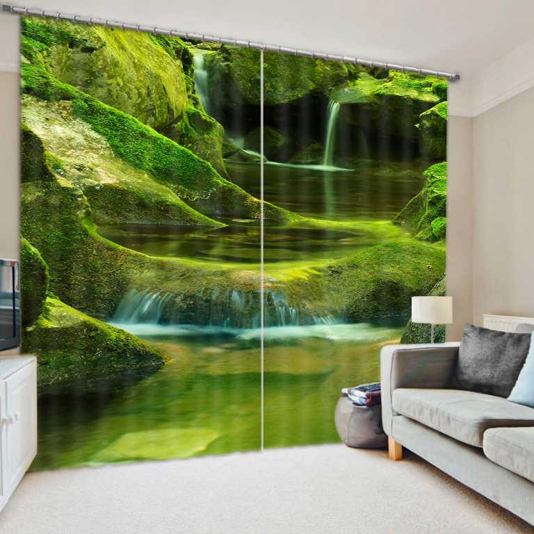 מפל וילון חלון וילונות עבור חדר שינה סלון 3D המותאם אישית פייר bleue וילונות אפלה וילונות Cortinas וילונות מטבח