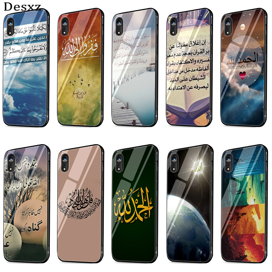 Desxz Sceneary Muslim Arabic Quran Islamic Quotes Case Glass For Iphone 5 5s Se 6 6s 7 8 Plus X Xs Max Xr Protection Cover Delaying Senility Half-wrapped Case