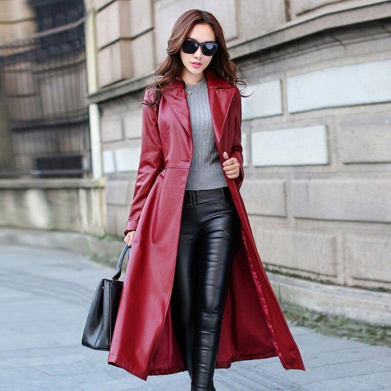 Aliexpress.com : Buy Long Leather Coat Female 2016 Autumn Women's ...
