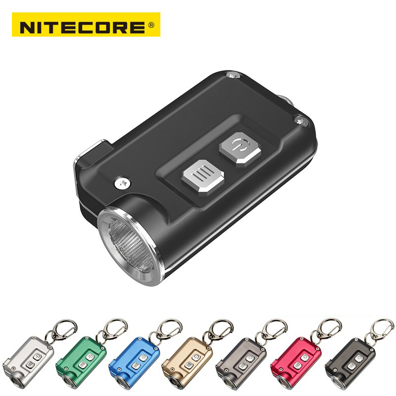 2018 New Nitecore TINI 380 lumens Micro-USB charging Mini Metallic Key Chain Light flashlight sog zoom black tini