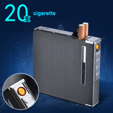 20 cigarette Thin Aluminum Metal Automatic Cigarette Case Box With USB Rechargeable Windproof Lighters Size 98*93*18.5(China)