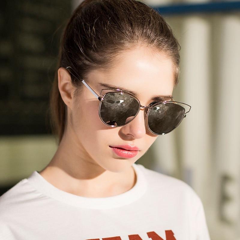 Nye CAT EYE Solbriller Dame Mirror Glasses Metal Frame Designer - Beklædningstilbehør - Foto 6