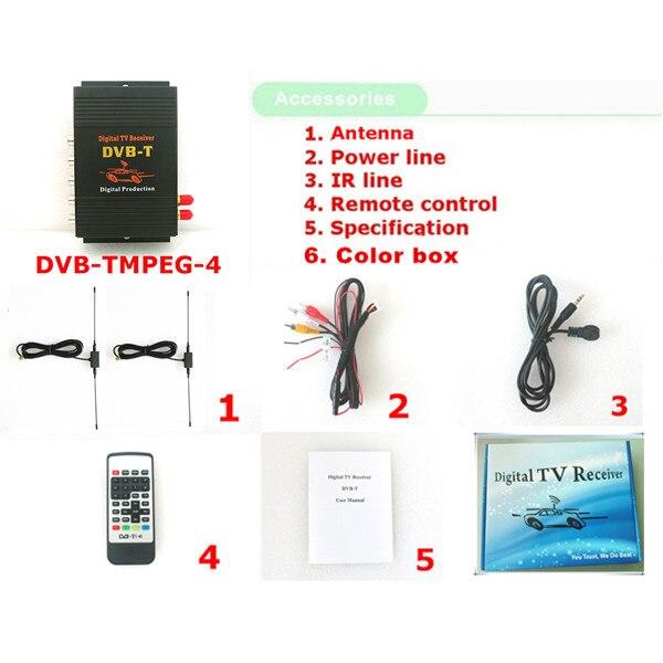 DVB-T voiture 140-200 km/h HD MPEG-4 deux puce Tuner deux antenne DVB T voiture numérique TV Tuner récepteur décodeur