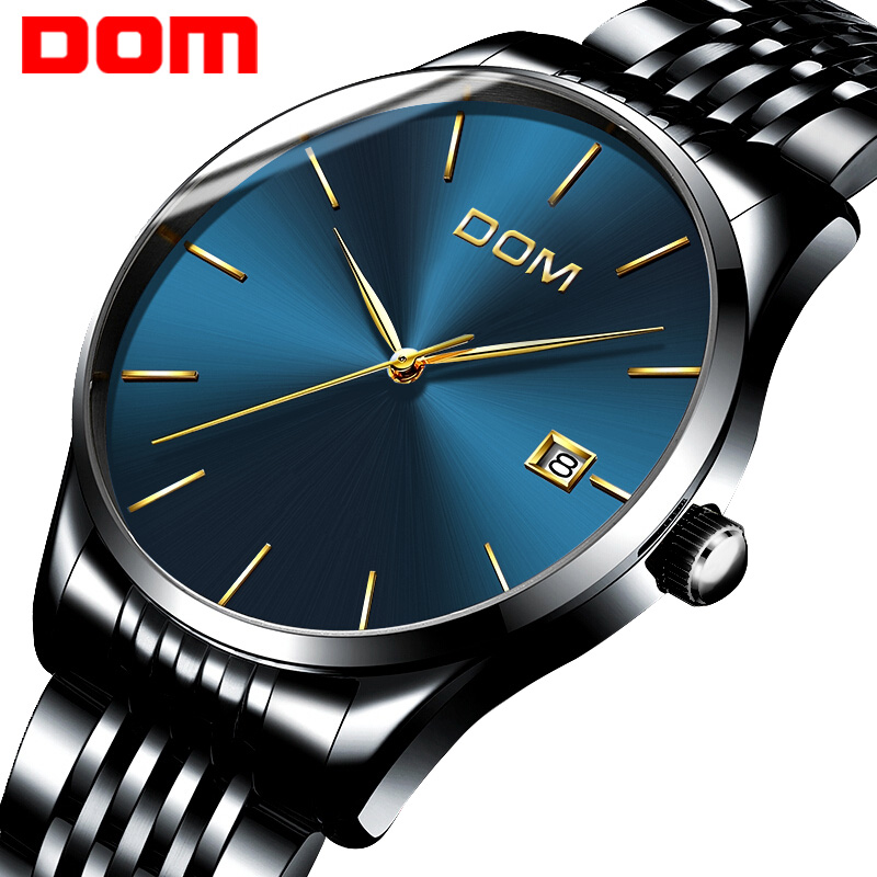 watch men DOM Top Brand Luxury Quartz watch Casual Black quartz-watch stainless steel Mesh strap ultra thin clock male M11BK-2M ultra luxury 2 3 5 modes german motor watch winder white color wooden black pu leater inside automatic watch winder