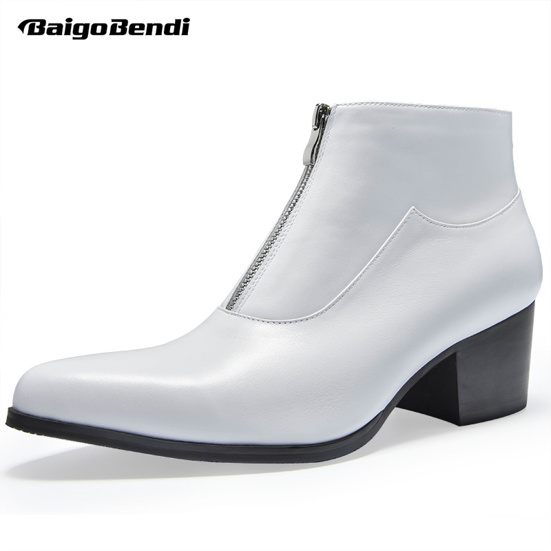 Size 37-44 Genuine Leather Mens High Heel Boots Man Winter Pointed Toe White Ankle Boots Zip Heighten Shoes Thick Heel