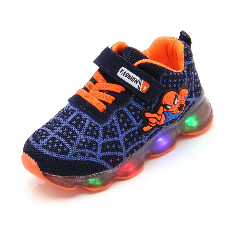 Fashion Spider Man Kids Casual Shoes With Light Air Mesh Children Luminous Comfortable Sneakers Boy Girl Led Light Sport Shoes