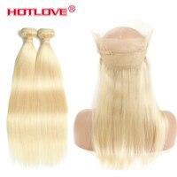 Hotlove перуанские прямые человеческие волосы 2 Связки Цвет 613 с 360 Кружева Фронтальные Связки с 360 кружева закрытия Remy человеческие волосы