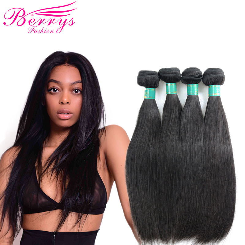 Berrys Fashion 4 Bundles Peruvian Straight 10A Virgin Hair Weave Nature 1B 100 Human Hair Extension