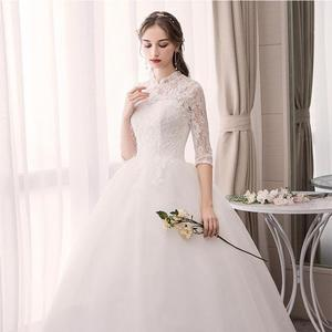 Image 3 - EZKUNTZA Lace High Neck 2019 New Wedding Dress Fashion Slim Embroidery Backless Plus Size Custom Made Bride Gown Robe De Mariee