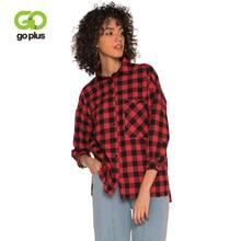 GOPLUS 2019 Spring Fashion Plaid Blouse Women Three Quarter sleeve Pockets Tassel Streetwear Shirts Casual Blusas Female Top