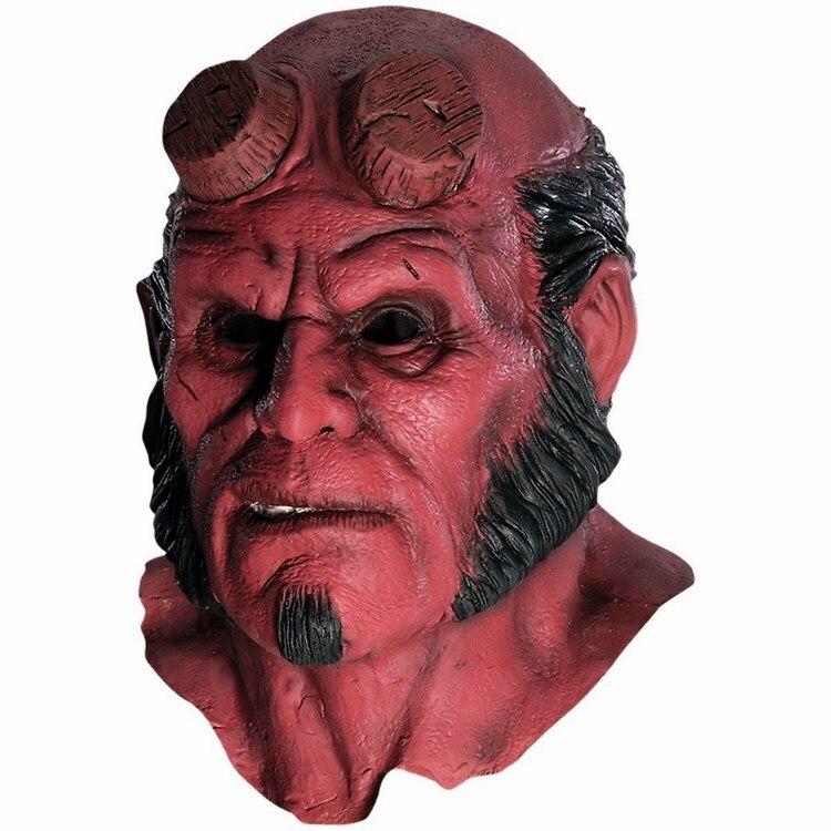 Hellboy Mask Hood Halloween masky Realistické silikonové cosplay strašidelné masky latexové kapuce řasenka teror vestido de festa obličejové masky