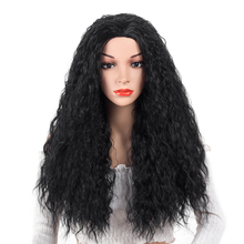 Aigemei Long Curly For Women Natural Black 20 Inch Heat Resistant Synthetic Fiber Wigs